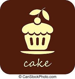torta, dolce, vettore, -, icona