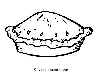 torta, em, doodle, estilo