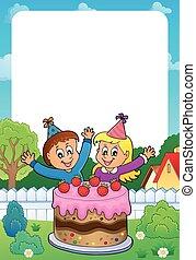 torta, festeggiare, cornice, bambini, due