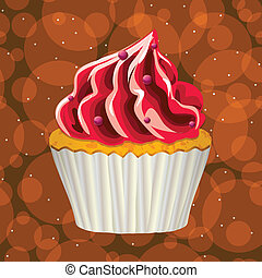 torta, fondo., vector., colorito, crema