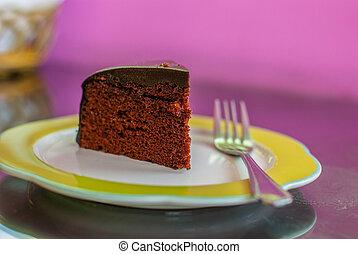 torta, forchetta, cioccolato