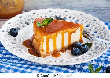 torta formaggio, con, salsa caramello