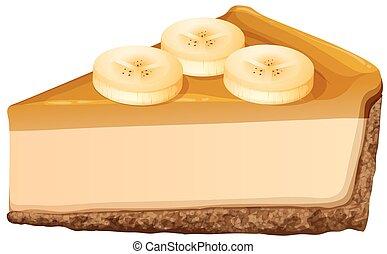 torta formaggio, fetta, banana