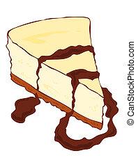 torta formaggio, fetta, chocolate.