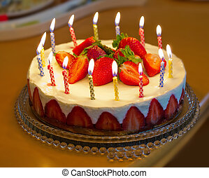 torta, fragola, compleanno, candles.