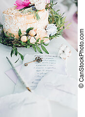 torta, fresco, decorato, fiori, matrimonio