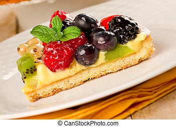 torta, frutas