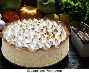 torta, frutta, passione, panna montata
