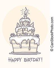 torta, grande, compleanno, cartolina auguri
