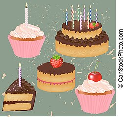 torta, grande, compleanno, set