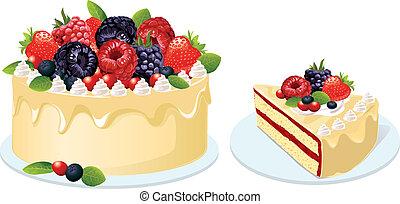 torta, gyümölcs