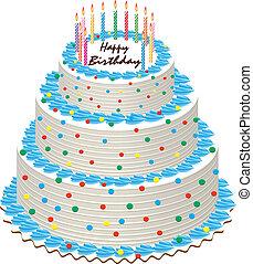 torta, gyertya, születésnap, égető
