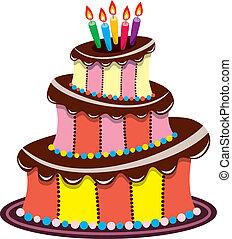 torta, gyertya, születésnap, égető, csokoládé