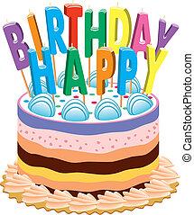 torta, gyertya, születésnap