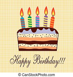 torta, gyertya, vektor, születésnap