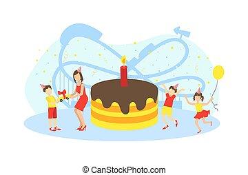 torta, hatalmas, születésnap, apró, gyerekek, ünnepies, vektor, boldog, fél, ábra, anya