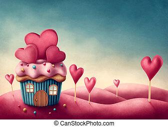 torta, képzelet, csésze, épület
