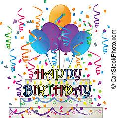torta, konfetti, születésnap, boldog