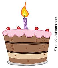 torta, luminoso, uno, candela compleanno