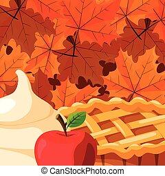 torta, maçã, ícone