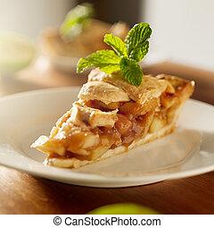 torta maçã, com, hortelã, garnish.