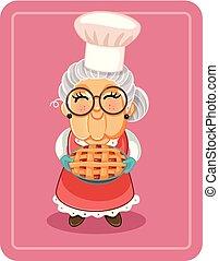 torta maçã, ilustração, vetorial, segurando, vovó
