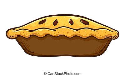 torta, maçã, mão, desenhado, tradicional