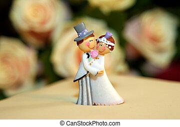 torta, matrimonio, closeup, bambole
