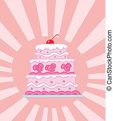 torta, matrimonio, tiered, rosa, triplo