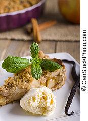 torta, mela, gelato