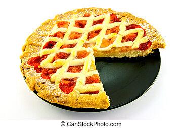 torta, moranguinho, fatia, maçã, ausente