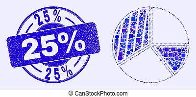 torta, mosaico, mapa, selo, azul, 25%, arranhado