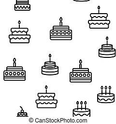 torta, motívum, születésnap, seamless, vektor