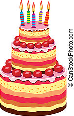 torta, nagy, vektor, születésnap