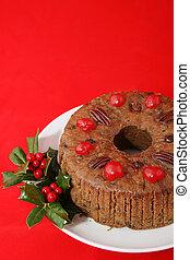 torta natale, su, rosso