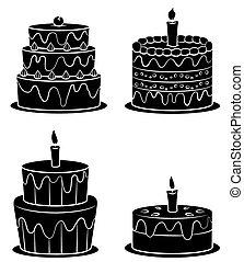 torta, nero, silhouette, collezione