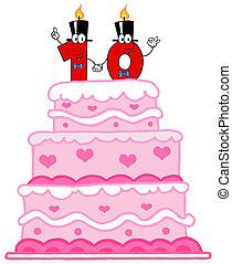 torta, numero, dieci, matrimonio