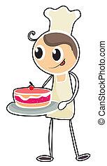 torta, pék, tálca, birtok