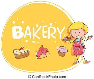 torta, pékség, pék, téma