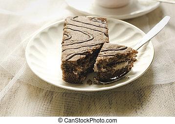 torta, piastra, bianco