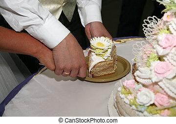 torta, piastra, taglio, pezzo, matrimonio
