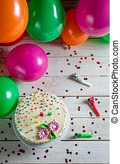 torta, pronto, compleanno, mangiare