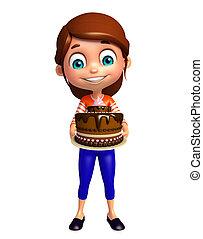 torta, ragazza, capretto