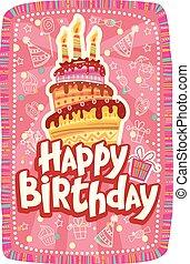 torta, scheda compleanno, felice