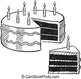 torta, schizzo, compleanno