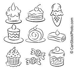 torta, schizzo, elemento