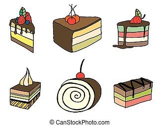 torta, schizzo, set