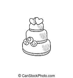 torta, skicc, icon., esküvő