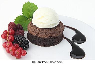 torta, soffio, sfondo bianco, cioccolato
