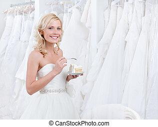 torta, sposa, assaggiare, felice
